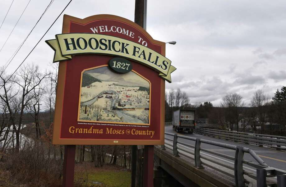 Sign at the entrance to Hoosick Falls on Route 22 on Wednesday, Jan. 4, 2017, in Hoosick Falls, N.Y. (Will Waldron/Times Union) Photo: Will Waldron