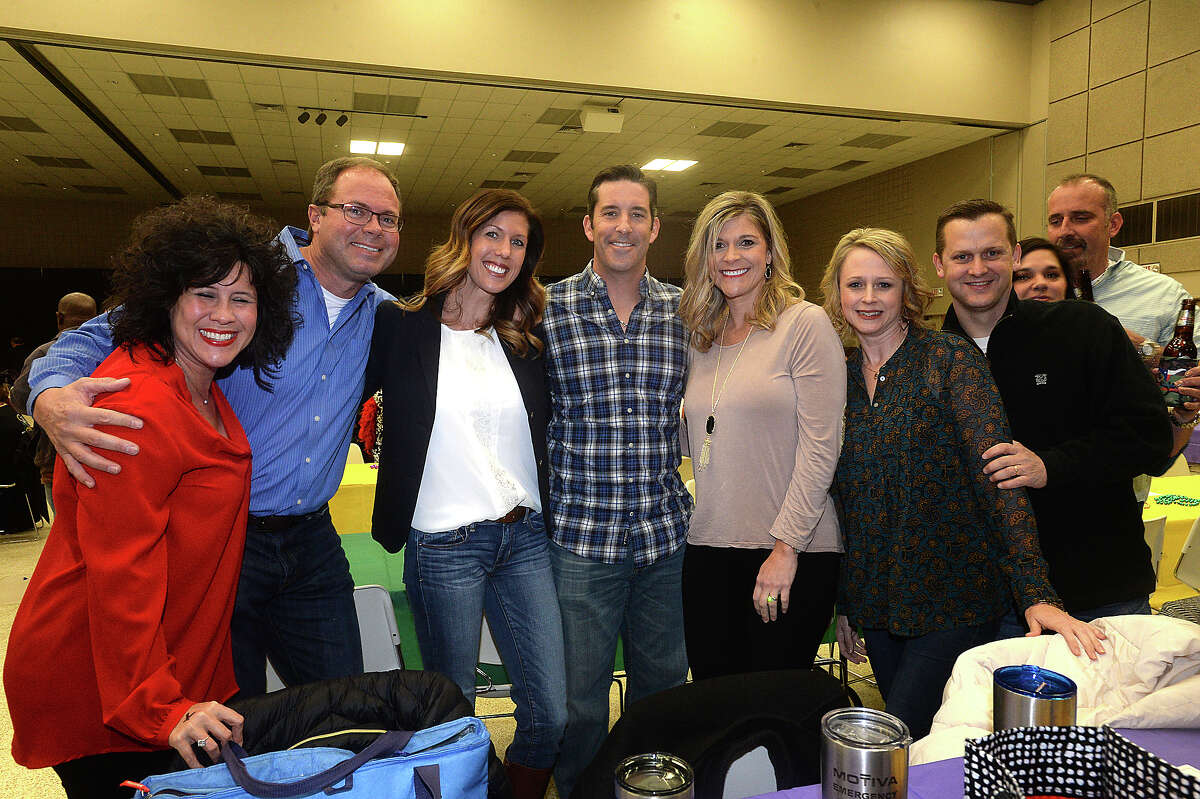 Kristi Guilbeaux, James and Paisley Ware, Bryan and LaRae Bost, Angie and Michael Melancon, and Regina and Brian Landry were at the fifth annual Beans and Jeans fundraising party held Saturday night at the Bob Bowers Civic Center in Port Arthur. The event coincides with Three Kings' Day, which officially ends the Christmas season and kicks off the start for Mardi Gras season. Revelers got in the spirit, celebrating with red beans and rice, king cake and musical entertainment by Electric Circus as the Krewes for this year's 25th Mardi Gras of Southeast Texas were introduced. The season reaches its climax with the weekend-long party and parades in downtown Port Arthur that begins February 23. Photo taken Saturday, January 7, 2017 Kim Brent/The Enterprise