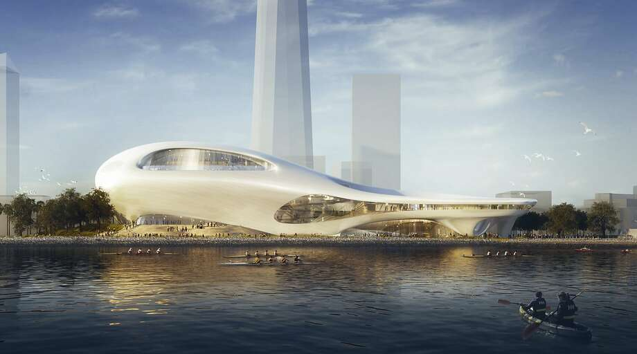 This concept design provided by the Lucas Museum of Narrative Art shows a rendering of the proposed museum on Treasure Island in San Francisco. The museum was awarded to Los Angeles. Photo: Associated Press