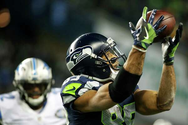 Seahawks wide receiver Doug Baldwin makes a 42-yard reception during the fourth quarter of Seattle's NFL wildcard playoff game against Detroit, Saturday, Jan. 7, 2017, at CenturyLink Field.