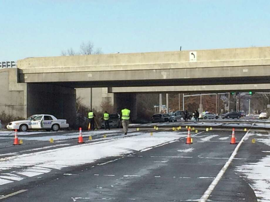 Colonie police say a man was fatally run over under the I-87 overpass at Exit 5 early Sunday Jan. 8, 2017. (Lauren Stanforth/Times Union)