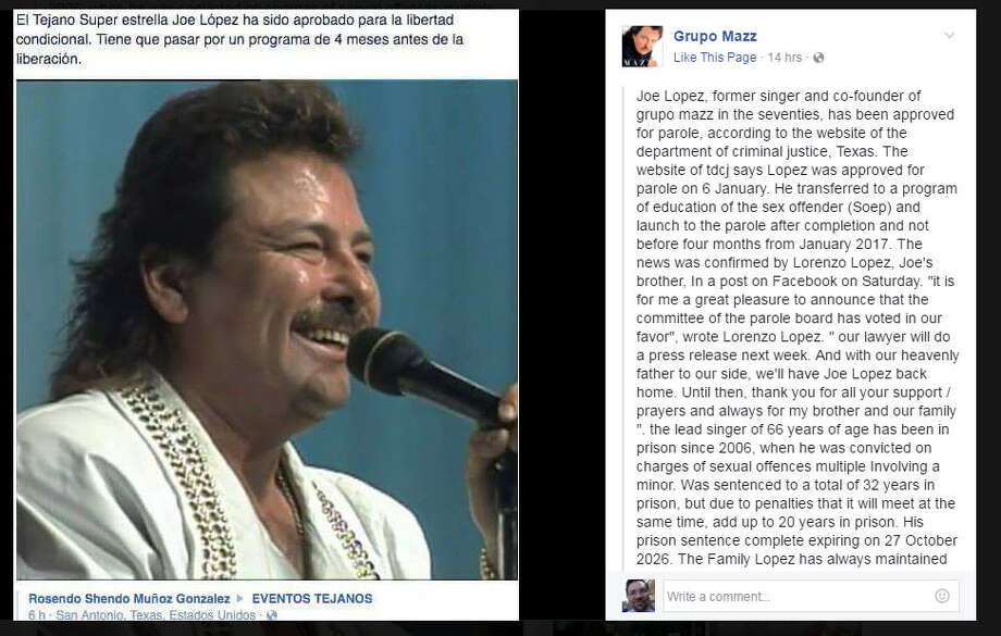 """Tejano singer to be freed, may seek exoneration.Grammy-winning Tejano singer Jose """"Joe"""" Lopez will be freed from a Texas prison later this year on parole. He was serving time for having sex with a 13-year-old girl near Brownsville. Photo: Facebook"""
