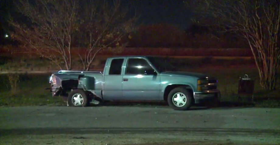 The driver who crashed into a green pickup truck was killed as he fled the scene of the crash. Photo: Metro Video