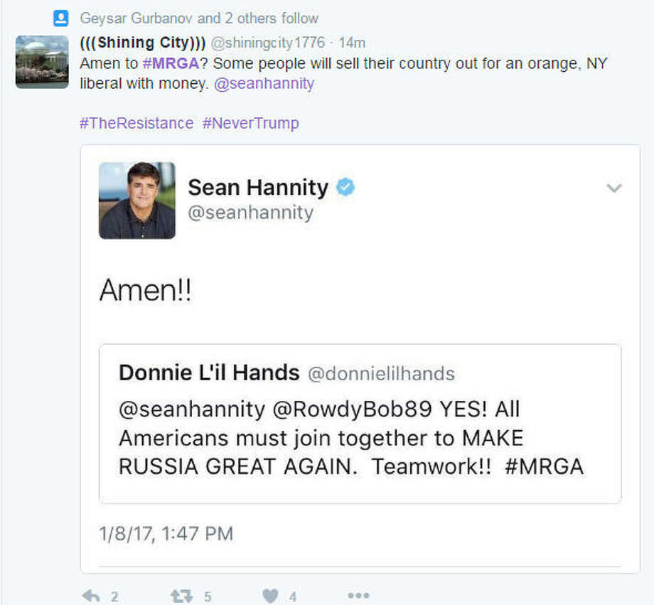 "Scroll through this gallery to see some of Twitter's reactions to Sean Hannity's ""Make Russia Great Again"" tweet. Photo: Twitter"