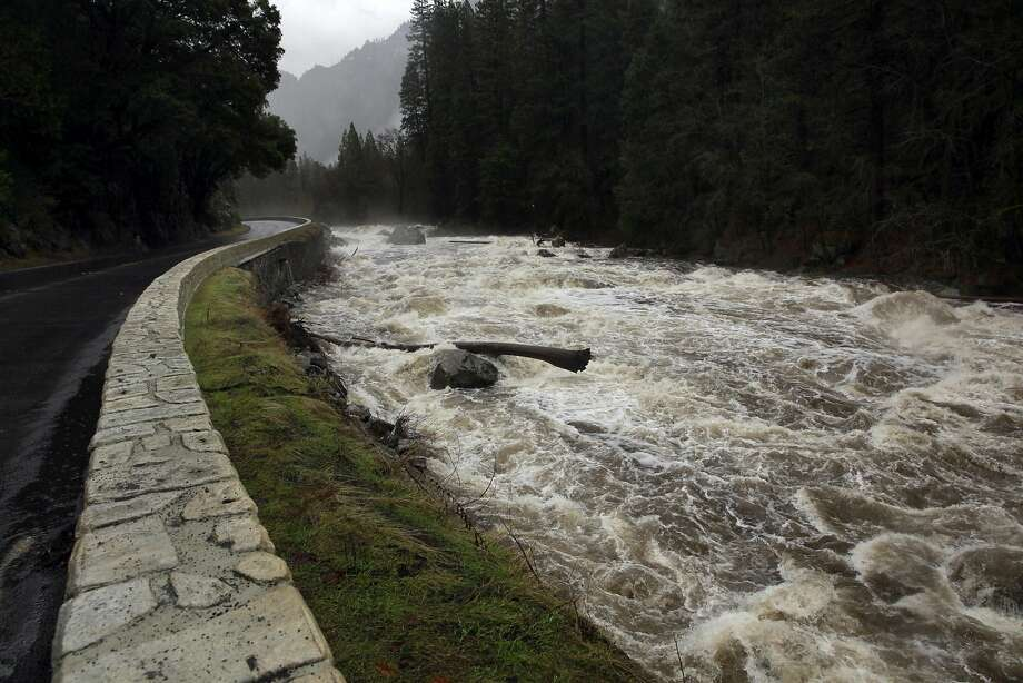 The Merced river churns its way out of the valley in Yosemite National Park, Ca., on Sunday Jan. 8, 2017, which is currently under a flash flood watch. Photo: Michael Macor, The Chronicle