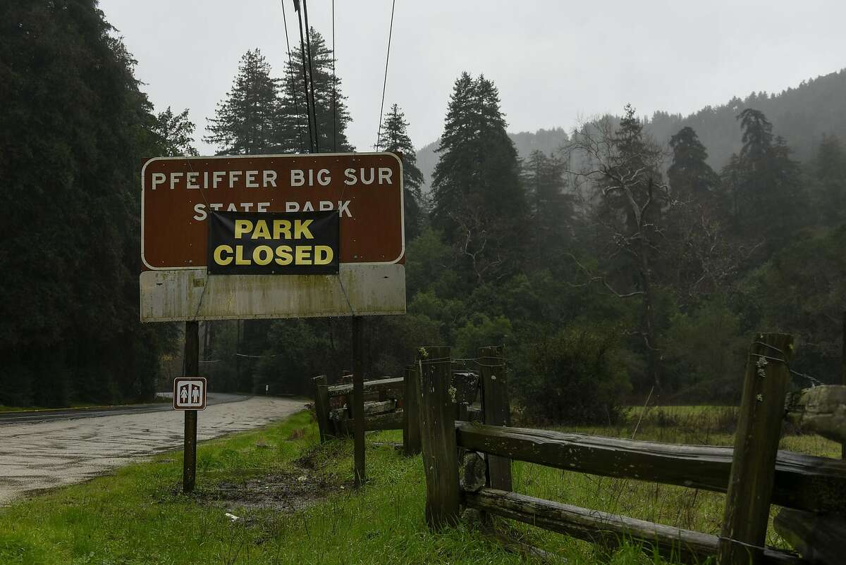A sign on Highway One shows that Pfeiffer Big Sur State Park is closed, in Big Sur, CA, on Sunday, January 8, 2017.