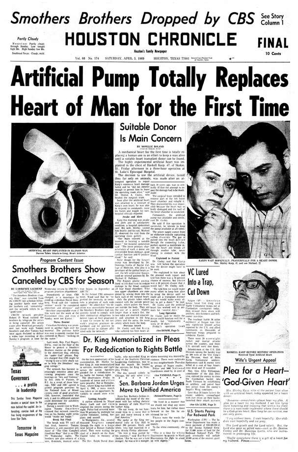 Houston Chronicle front page (HISTORIC) - April 5, 1969 - section 1, page 1.  Artificial Pump Totally Replaces Heart of Man for the First Time (Haskell Karp) / Houston Chronicle