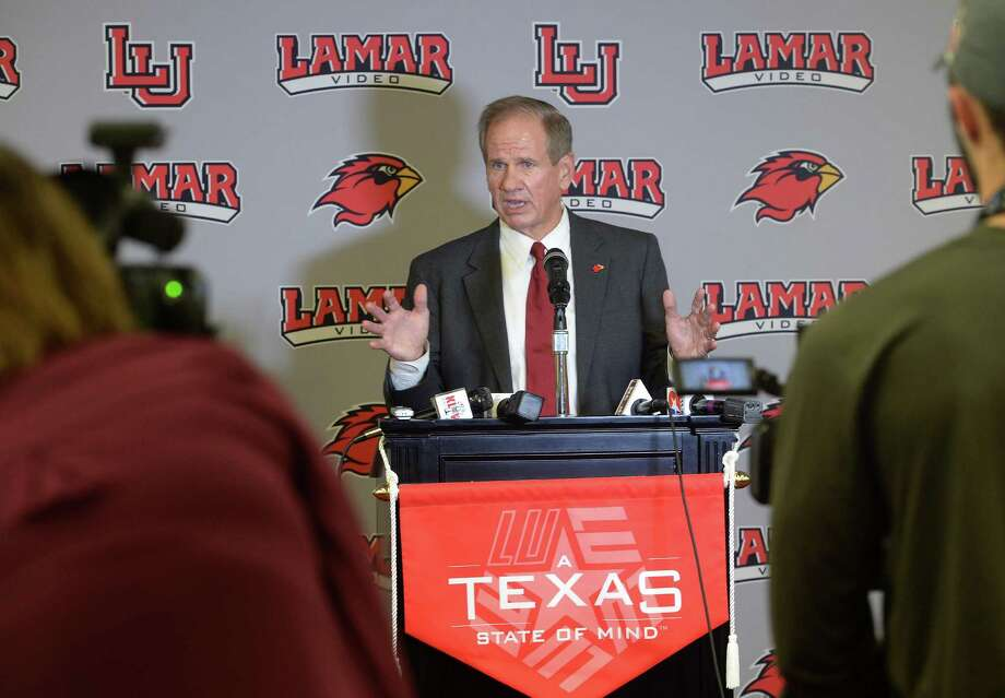 The Cardinal's new head football coach Mike Schultz addresses the media during a press conference on Thursday. Schultz's previous coaching job was at Texas State in 2015 as an offensive coordinator. Schultz said one of his priorities at Lamar is recruiting. A graduate of Sam Houston State, Schultz has been coaching college football since 1979. Photo taken December 22, 2016 Guiseppe Barranco/The Enterprise Photo: Guiseppe Barranco, Photo Editor