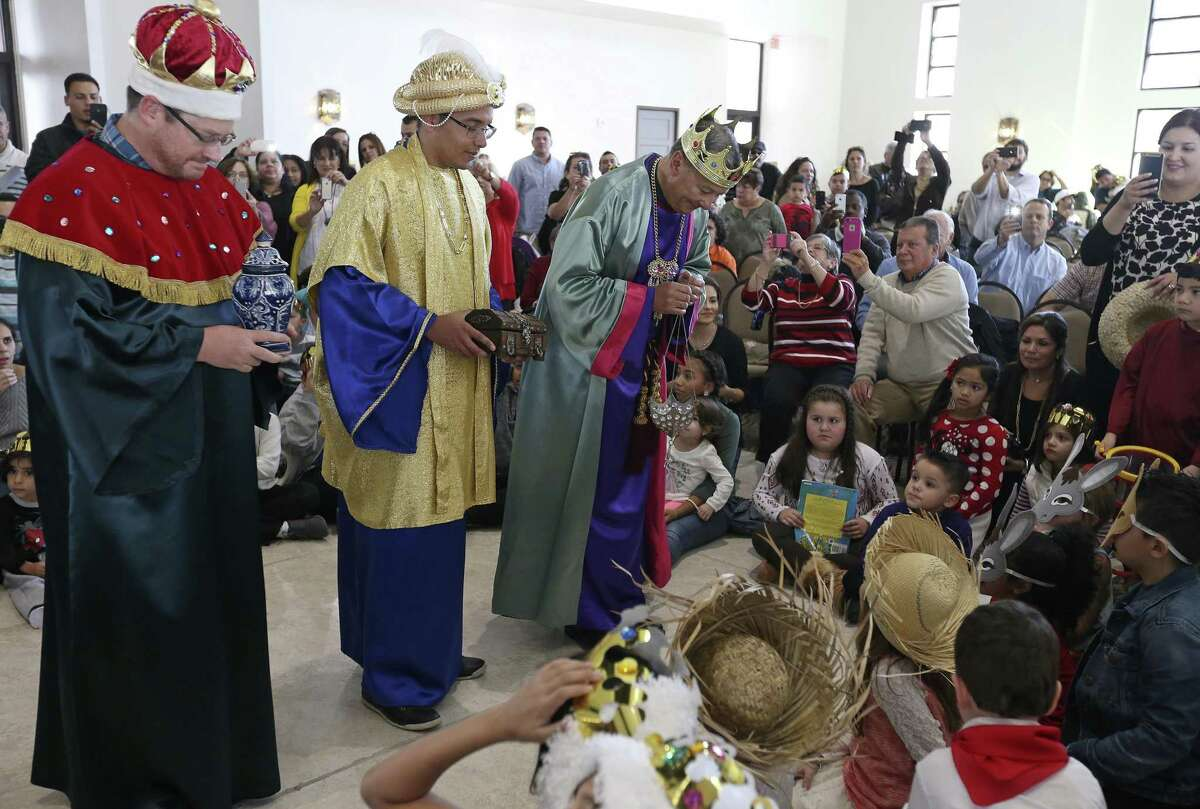 Richard Watson, as King Balthazar, (from left), Eli Garcia, as King Melchior, and Jaime Vazquez, as King Gaspar, take part in a re-enactment of the nativity during the Puerto Rican Heritage Society's 23rd annual Three Kings Day held Sunday Jan. 8, 2017 at San Fernando Hall.