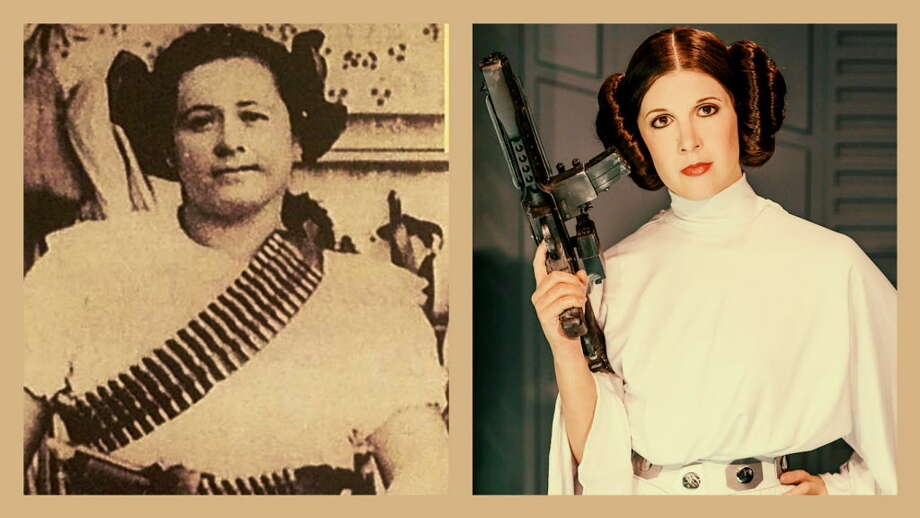 Collage of a Mexican Revolutionary woman and Princess Leia, the Star Wars character played by Carrie Fisher, showing the similarity of their hairdos. Photo: In The Collage: Clemens Bilan/Getty Images And A Historical Photo.