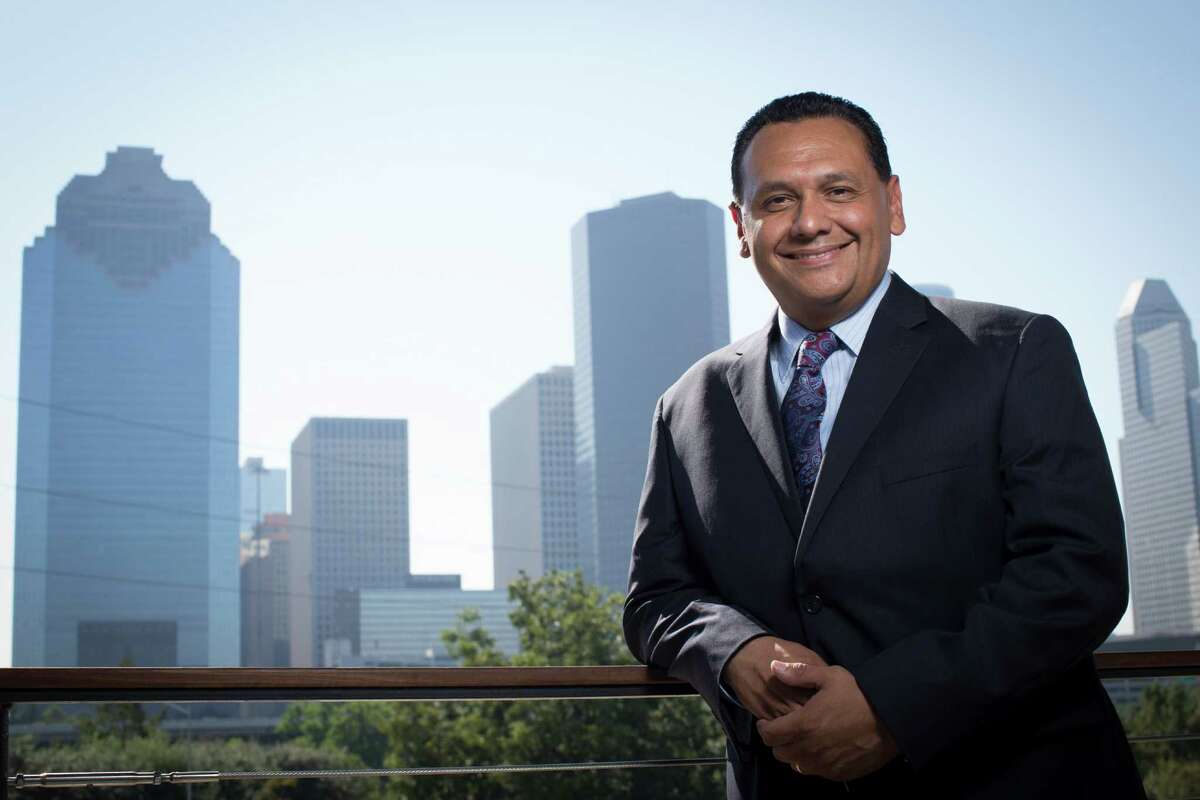 Former three-term District H city councilman Ed Gonzalez stands with the Houston downtown skyline by the Buffalo Bayou, Wednesday, Sept. 21, 2016. Gonzalez is a Democrat running for Harris County Sheriff. ( Marie D. De Jesus / Houston Chronicle )