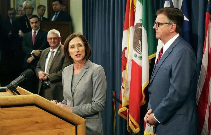 Lt. Governor Dan Patrtick announces legislation by Senator Lois Kolkhorst (R-Brenham) concerning bathroom access rules in Texas on January 5, 2016.