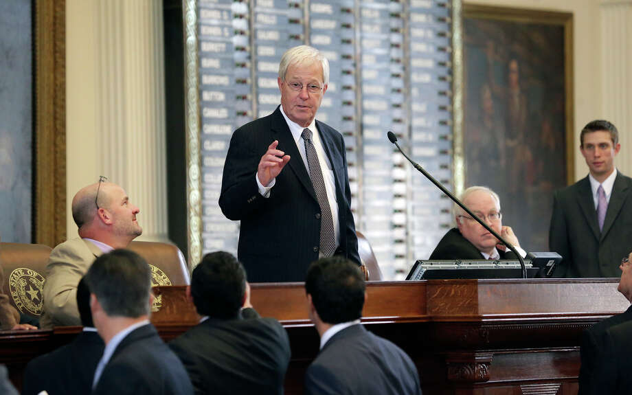 Representative Charlie Geren (R- Fort Worth) stands in as speaker as the  House of Representatives works  on last minute legislation in Austin on May 14, 2015. Photo: Tom Reel, Staff / San Antonio Express-News