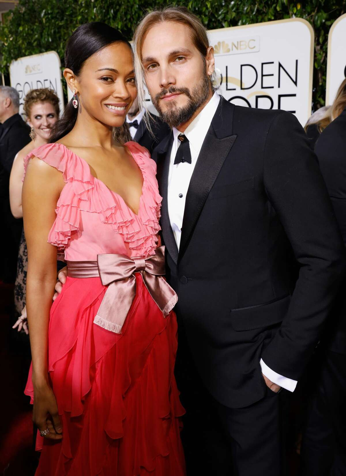 Actress Zoe Saldana and artist Marco Perego arrive at the 74th Annual Golden Globe Awards held at the Beverly Hilton Hotel on January 8, 2017.