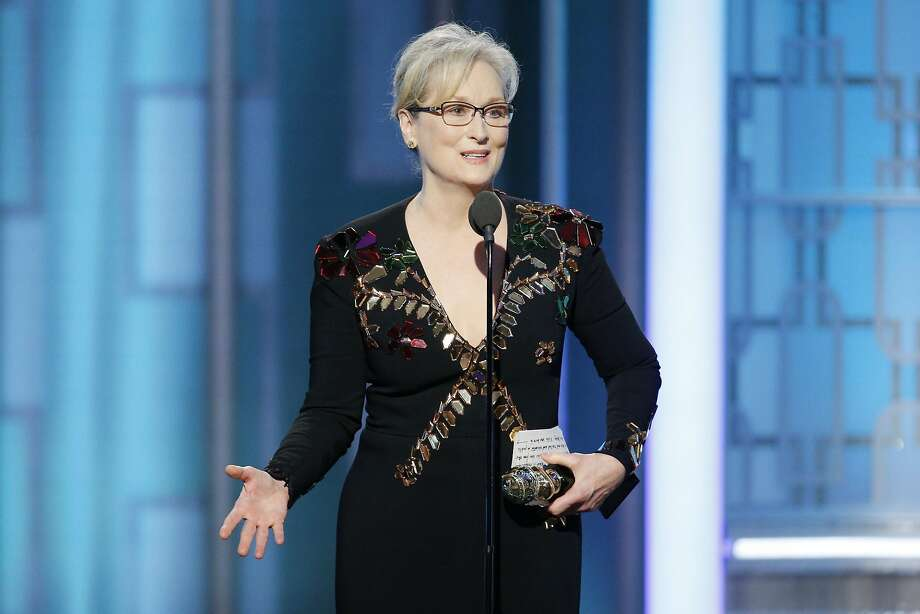 Meryl Streep accepts Cecil B. DeMille Award during the 74th Annual Golden Globe Awards at The Beverly Hilton Hotel on January 8, 2017 in Beverly Hills, California. Continue clicking to see the other scenes and celebrities from the Golden Globes awards. Photo: Handout, Getty Images
