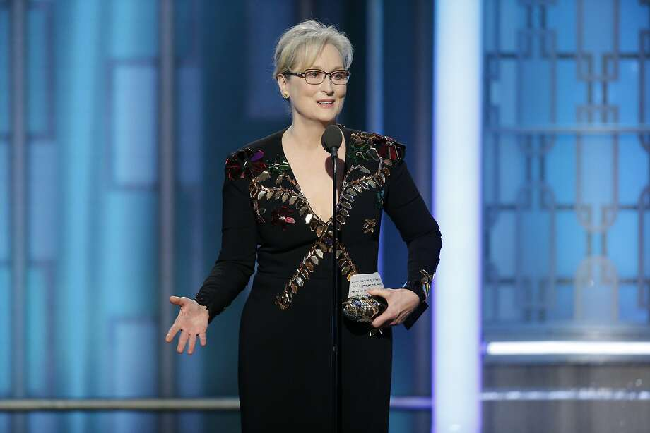 This image released by NBC shows Meryl Streep accepting the Cecil B. DeMille Award at the 74th Annual Golden Globe Awards at the Beverly Hilton Hotel in Beverly Hills, Calif., on Sunday, Jan. 8, 2017. (Paul Drinkwater/NBC via AP) Photo: Paul Drinkwater, Associated Press