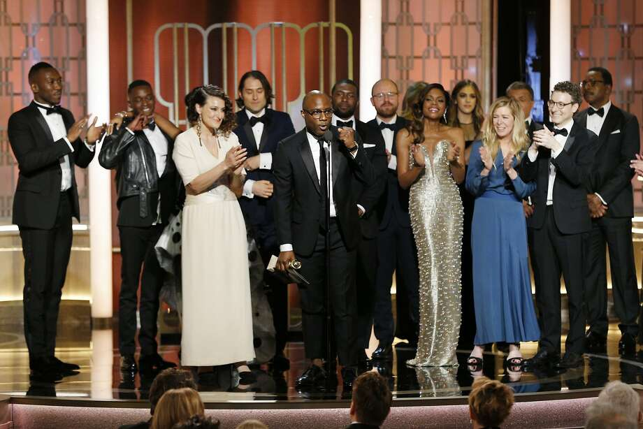 "BEVERLY HILLS, CA - JANUARY 08: In this handout photo provided by NBCUniversal, director Barry Jenkins and the cast and crew of ""Moonlight"" accept the award for Best Motion Picture - Drama for ""Moonlight"" onstage during the 74th Annual Golden Globe Awards at The Beverly Hilton Hotel on January 8, 2017 in Beverly Hills, California. (Photo by Paul Drinkwater/NBCUniversal via Getty Images) Photo: Handout, Getty Images"