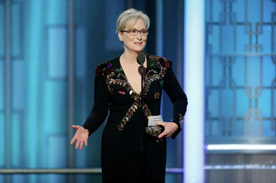 This image released by NBC shows Meryl Streep accepting the Cecil B. DeMille Award at the 74th Annual Golden Globe Awards at the Beverly Hilton Hotel in Beverly Hills, Calif., on Sunday, Jan. 8, 2017. (Paul Drinkwater/NBC via AP) Photo: Paul Drinkwater, AP / 2017 NBCUniversal Media, LLC