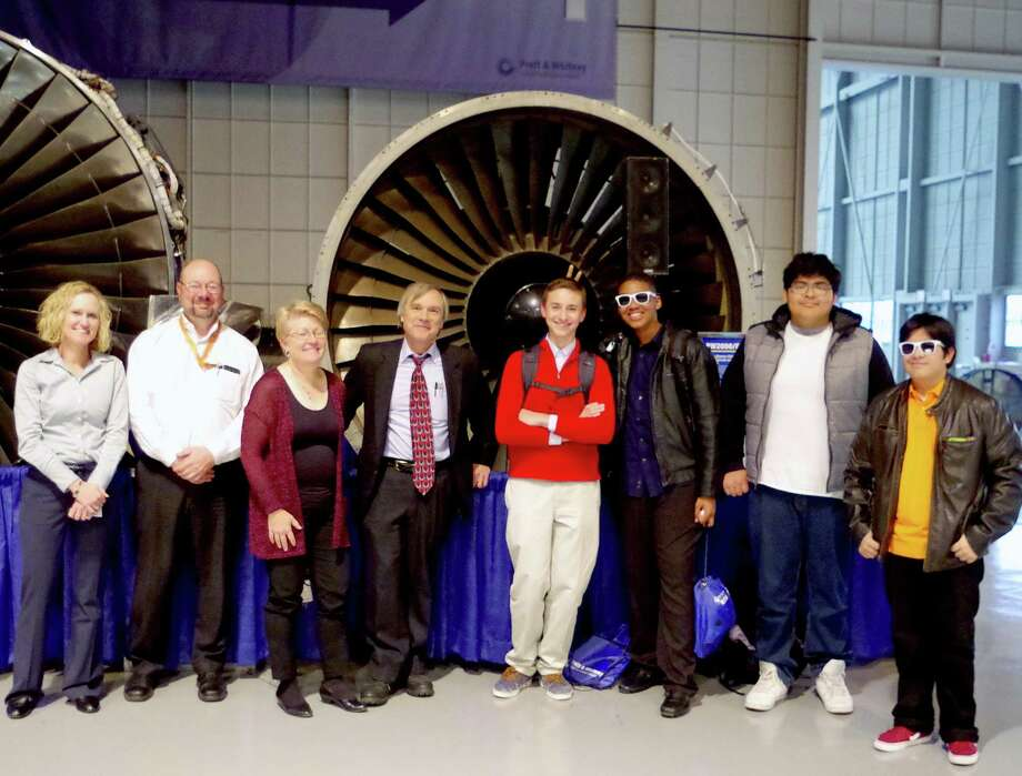 From left, Pratt & Whitney engineer/mentors Lisa Jenkins, Art Salve and Ruthanne Szumski; AITE math teacher Vin Urbanowskil; and AITE students Marcel Koszkul, Peter Vibert, Maurice Fajardo Polo and Richard Marroquin. Photo: Contributed / Stamford Public Schools