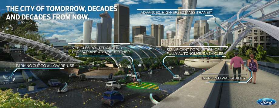 "PHOTOS: City of Tomorrow Ford recently announced their vision for the ""City of Tomorrow,"" a depiction of American streets decades from now.Click through to see Ford's vision of the future. Photo: Ford"