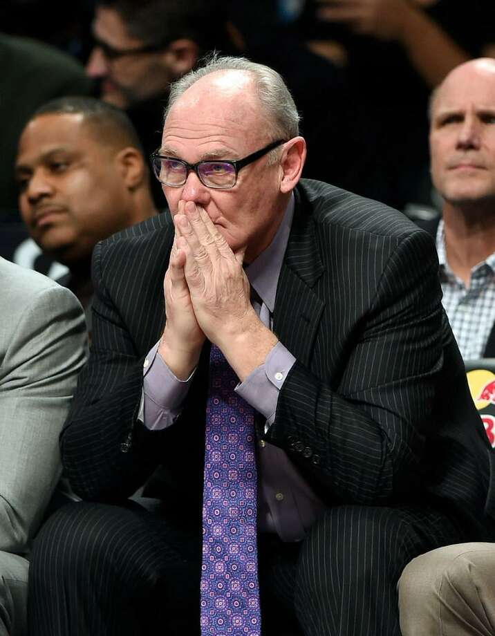 In this Feb. 5, 2016 file photo, Sacramento Kings coach George Karl reacts to his team's play during the second half of an NBA basketball game against the Brooklyn Nets, in New York. The Sacramento Kings have fired coach George Karl after his first full season with the team, setting the stage for the team to hire its ninth coach since last making the playoffs in 2006. General manager Vlade Divac announced the move Thursday, April 14, 2016, a day after the Kings wrapped up another disappointing season with a 33-49 record. Photo: Kathy Kmonicek /George Karl