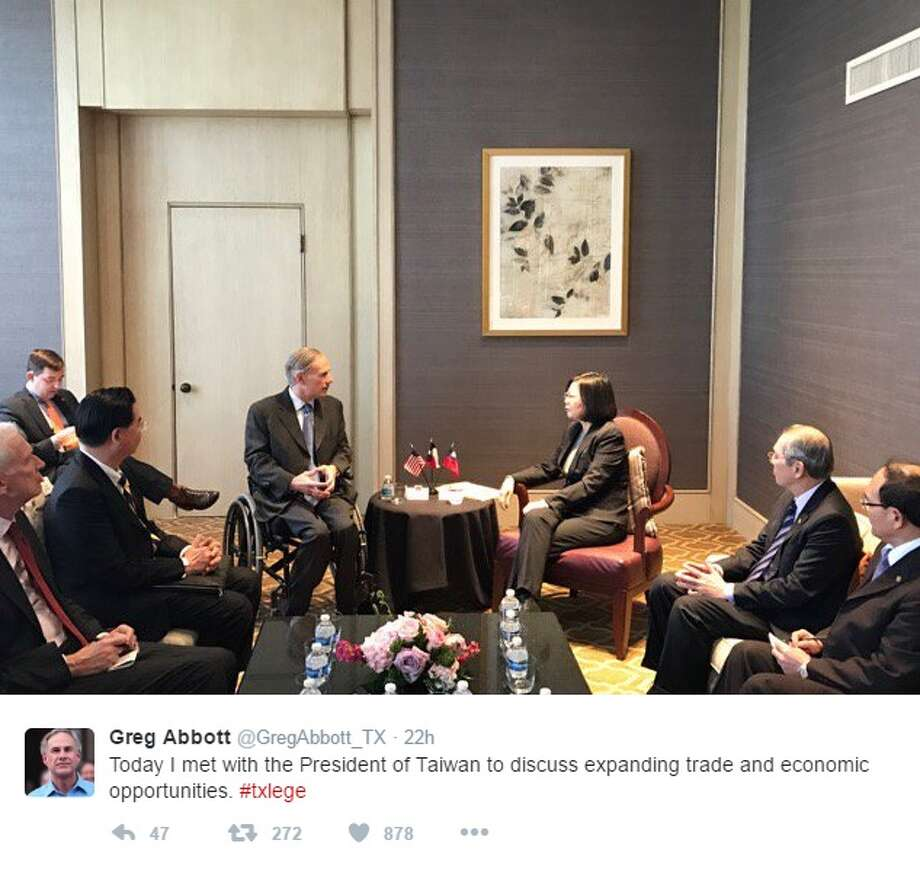 "@GregAbbott_TX: ""Today I met with the President of Taiwan to discuss expanding trade and economic opportunities. #txlege"" Photo: Courtesy/Twitter"