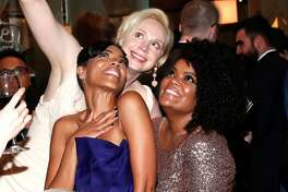 Actresses Jazmyn Simon, Gwendoline Christie and Yvette Nicole Brown attend HBO's Official Golden Globe Awards After Party at Circa 55 Restaurant on January 8, 2017 in Beverly Hills, California.