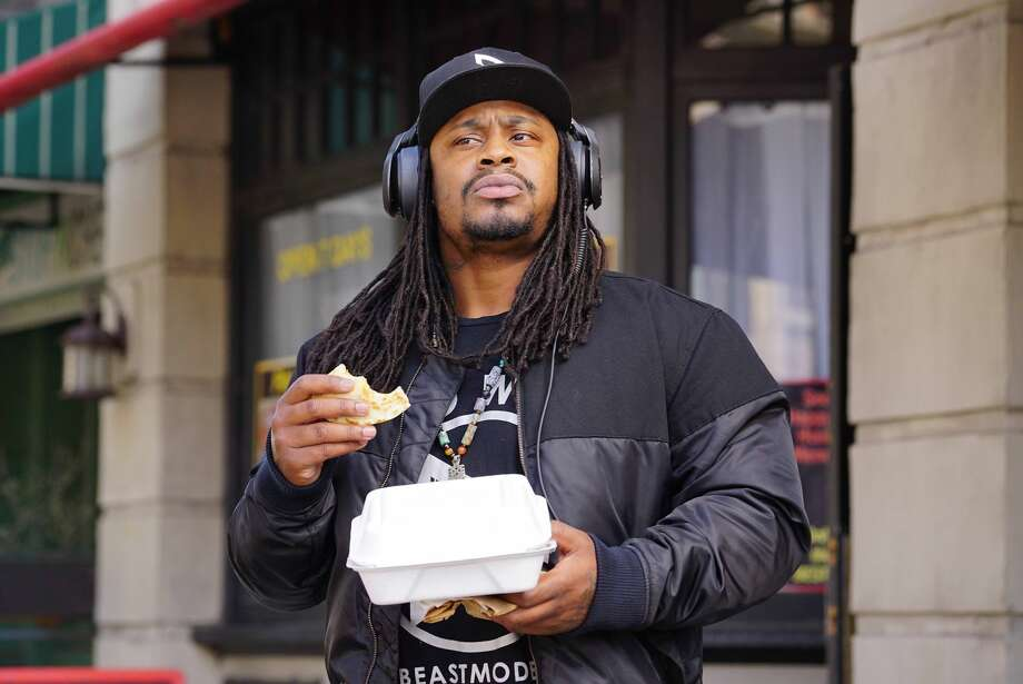 Guest star Marshawn Lynch in the first part of the one-hour winter finale episode of Brooklyn Nine-Nine. Photo: FOX/FOX Via Getty Images