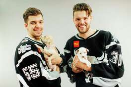 Pucks & Paws (Jan. 22): AT&T Center, 1 AT&T Center Parkway, 210-444-5554, sarampage.com. The San Antonio Rampage celebrate a decade of doggies at the hockey game with its 10th annual Pucks & Paws game at the AT&T Center. Human tickets start at $10, while dog tickets are $5 per pet. (Limit one pet per adult fan.) Pictured, San Antonio Rampage players (left to right) Alex Belzile and Spencer Martin pose with dogs (left to right) Jessica and Marshmallow to promote the 2017 Pucks & Paws game at the AT&T Center.