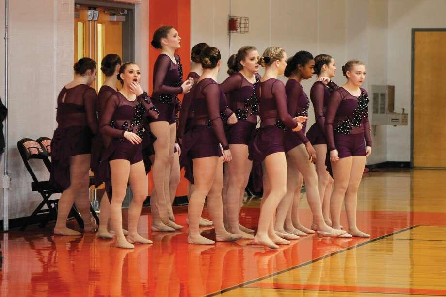 The EHS Varsity Dance Team awaits their turn on the Lucco-Jackson floor. Photo: Bill Tucker • Intelligencer