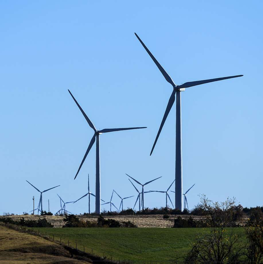 A wind farm in Minco, Okla. provides Google with some of its renewable energy. Google says it believes that beginning in 2017, it will have amassed enough renewable energy to meet all of its electricity needs throughout the world. Photo: Associated Press