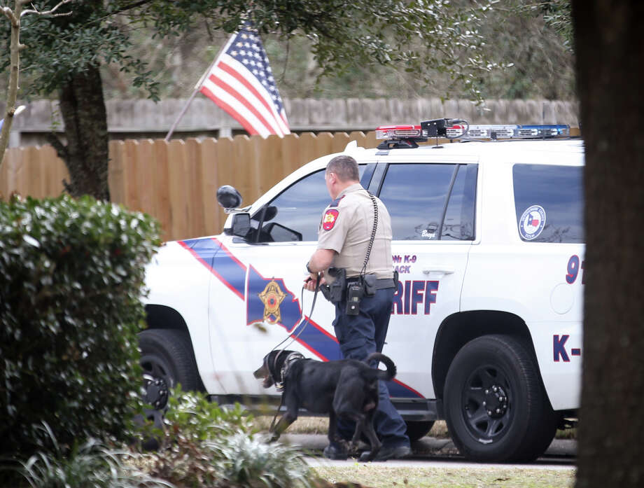 A Montgomery County Sheriff's Office canine unit investigates a scene where a homeowner reported shooting two trespassers at his home on Monday, Jan. 9, 2017, off of Fairwind Trail Drive in Harpers Landing. The homeowner also reported being stabbed in the incident. Photo: Michael Minasi, Staff Photographer / © 2017 Houston Chronicle