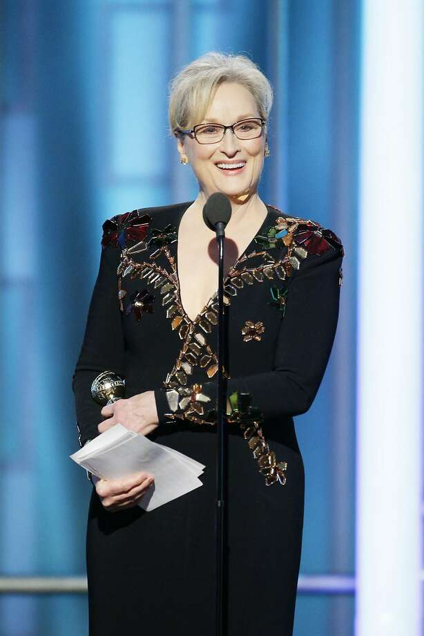 BEVERLY HILLS, CA - JANUARY 08:  In this handout photo provided by NBCUniversal, Meryl Streep accepts  Cecil B. DeMille Award  during the 74th Annual Golden Globe Awards at The Beverly Hilton Hotel on January 8, 2017 in Beverly Hills, California.  (Photo by Paul Drinkwater/NBCUniversal via Getty Images) Photo: Handout, Getty Images