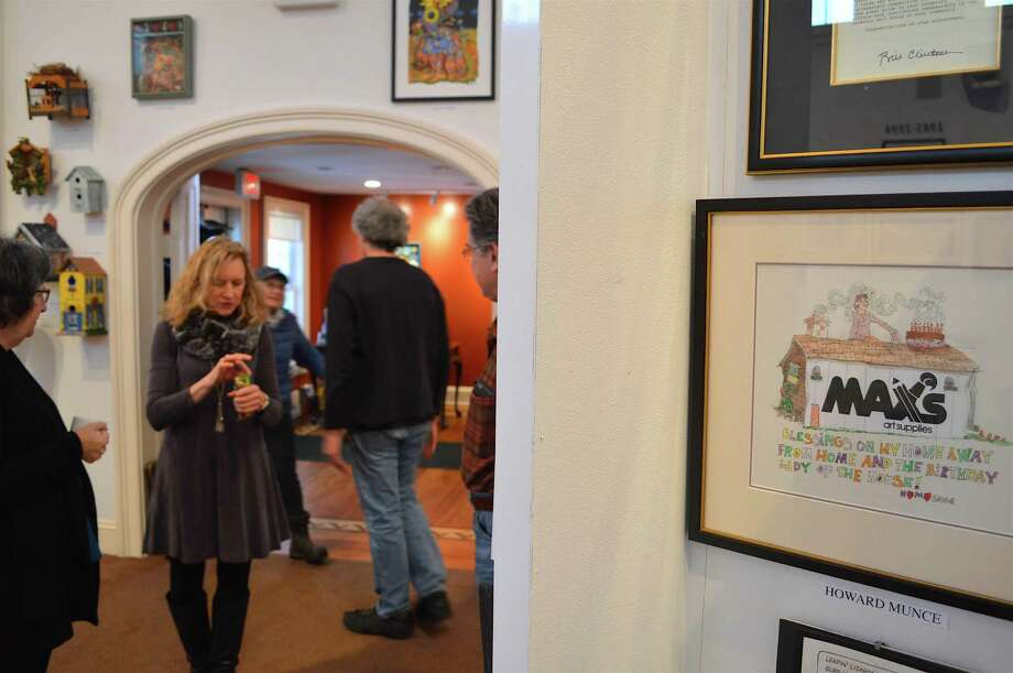 """A card from late local artist Howard Munce to the owner of Max's at the """"Art to the Max"""" show at the Westport Historical Society, which closed Saturday, Jan. 7, 2017, in Westport, Conn. Photo: Jarret Liotta / For Hearst Connecticut Media / Westport News Freelance"""
