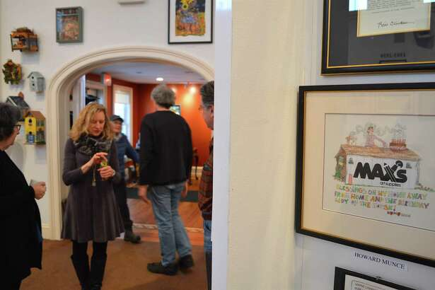 """A card from late local artist Howard Munce to the owner of Max's at the """"Art to the Max"""" show at the Westport Historical Society, which closed Saturday, Jan. 7, 2017, in Westport, Conn."""