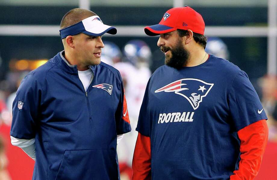 FILE - In this Sept. 3, 2015, file photo, New England Patriots offensive coordinator Josh McDaniels, left, talks with defensive coordinator Matt Patricia before an NFL football game against the New York Giants in Foxborough, Mass. The Patriots coordinators acknowledged Monday, Jan. 9, 2017, that they had participated in interviews about head coaching vacancies over the weekend, but neither specified which teams they met with. (AP Photo/Winslow Townson, File) Photo: Winslow Townson, FRE / AP