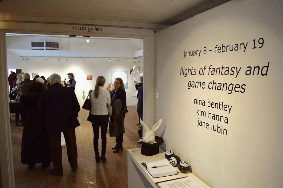 "The new ""Flights of Fantasy and Game Changes"" exhibition, which includes work by Westporters Nina Bentley and Jane Lubin, had its opening reception at the Silvermine Arts Center, Sunday, Jan. 8, 2017, in New Canaan, Conn. Photo: Jarret Liotta / For Hearst Connecticut Media / New Canaan News Freelance"