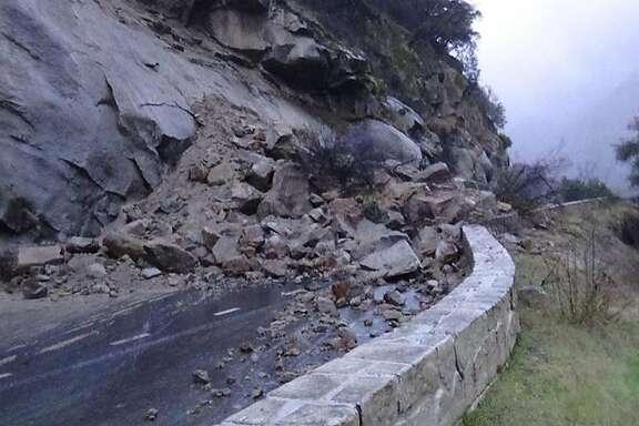A rockfall in Yosemite National Park closed Highway 140 (El Portal Road) on Jan. 9, 2017.
