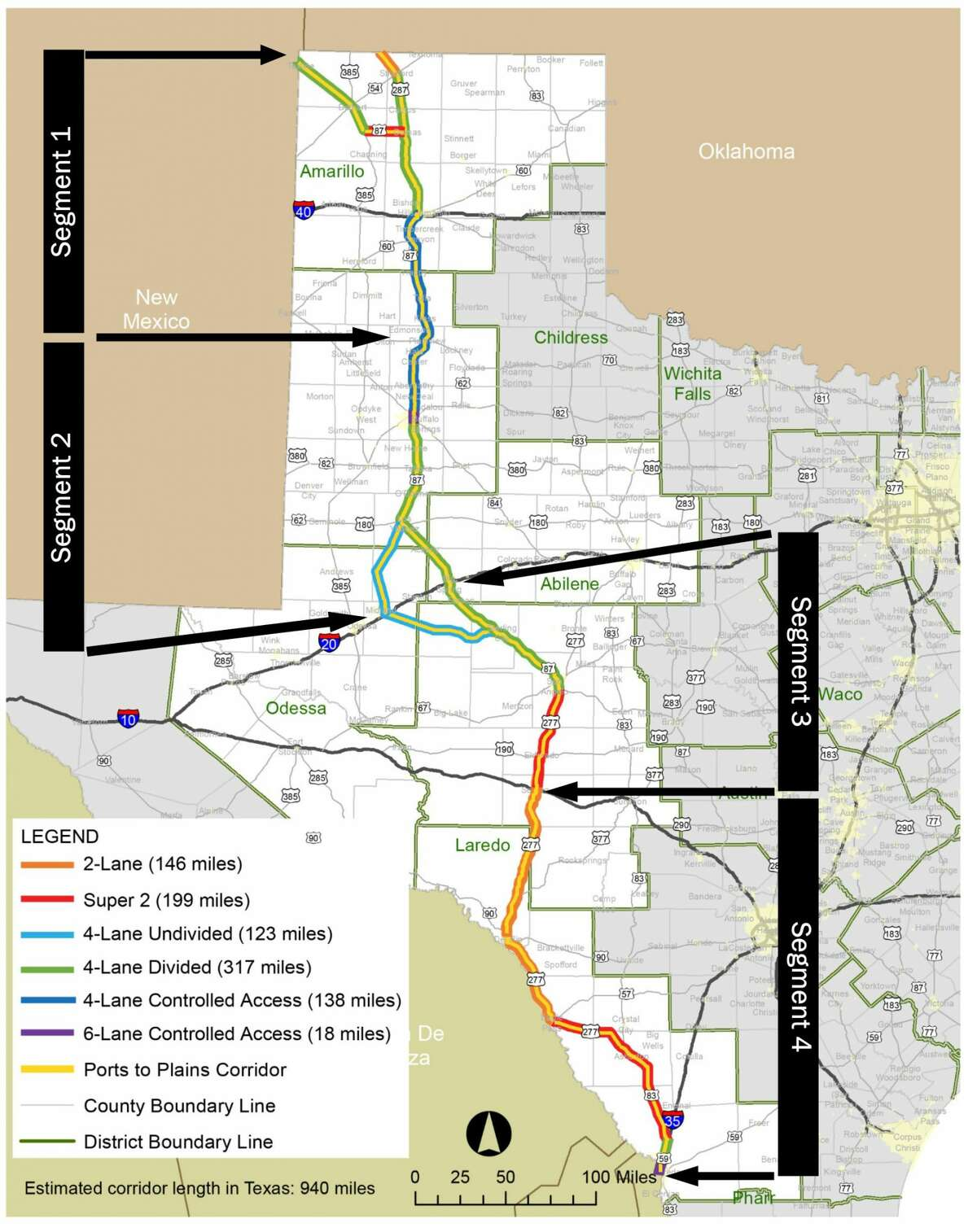 This map provided by the Ports-to-Plains Alliance shows the Ports-to-Plains corridor in Texas. Rep. Dustin Burrows of Lubbock has filed a bill to convert the entirety of the corridor into Interstate 27, which currently terminates south of Lubbock on US Highway 87.