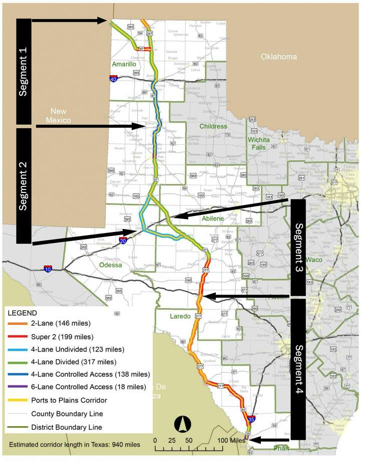 This map provided by the Ports-to-Plains Alliance shows the Ports-to-Plains corridor in Texas. Rep. Dustin Burrows of Lubbock has filed a bill to convert the entirety of the corridor into Interstate 27, which currently terminates south of Lubbock on US Highway 87.  Photo: Courtesy Photo