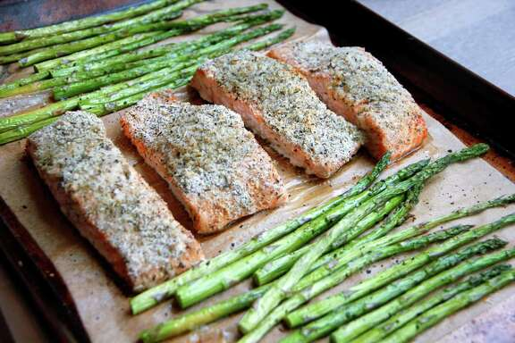 Cooking salmon and asparagus together saves time and cleanup.