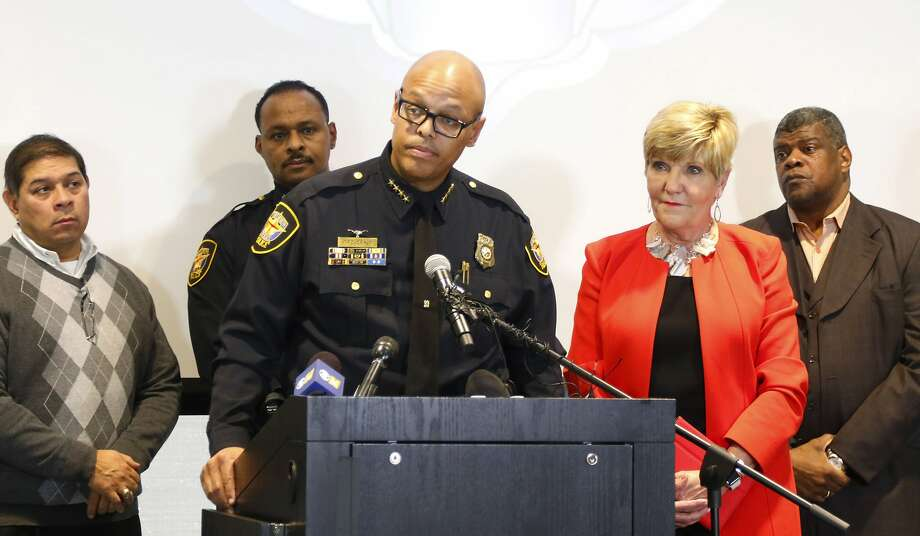 Fort Worth Police Chief Joel Fitzgerald speaks at a press conference to announce the discipline for Officer William Martin, whose arrest of a woman became a viral video on social media, Monday, Jan. 9, 2017. Martin was suspended without pay for 10 days, but will not be fired, after an incident in which he was caught on video wrestling a black woman and her daughter to the ground, Fitzgerald announced Monday. (Rodger Mallison/Star-Telegram via AP) Photo: Rodger Mallison, Associated Press