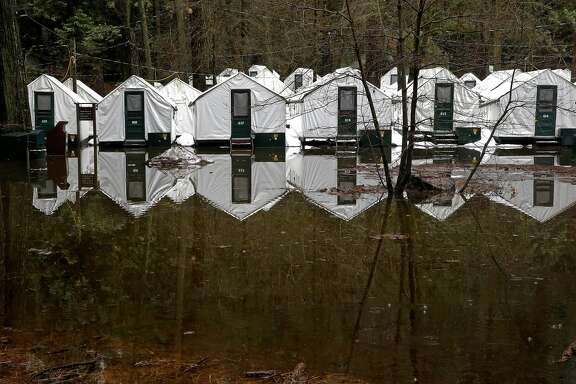 Rain reached up to the bottom but not into the tent cabins at Half Dome Village overnight on Monday Jan. 9, 2017, the day after heavy rains fell across in Yosemite National Park, Ca.