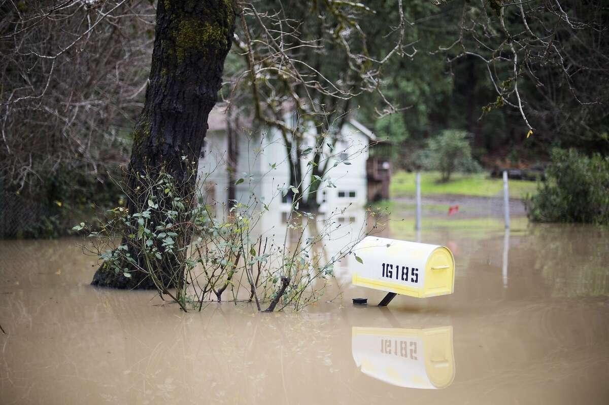 Property damage on Neeley Road during flooding in Guerneville, CA on January 9, 2017