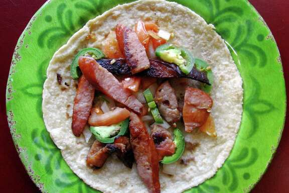 Country a la Mexicana taco on a handmade corn tortilla from Fidelo's Mexican Restaurant on Nacogdoches Road.