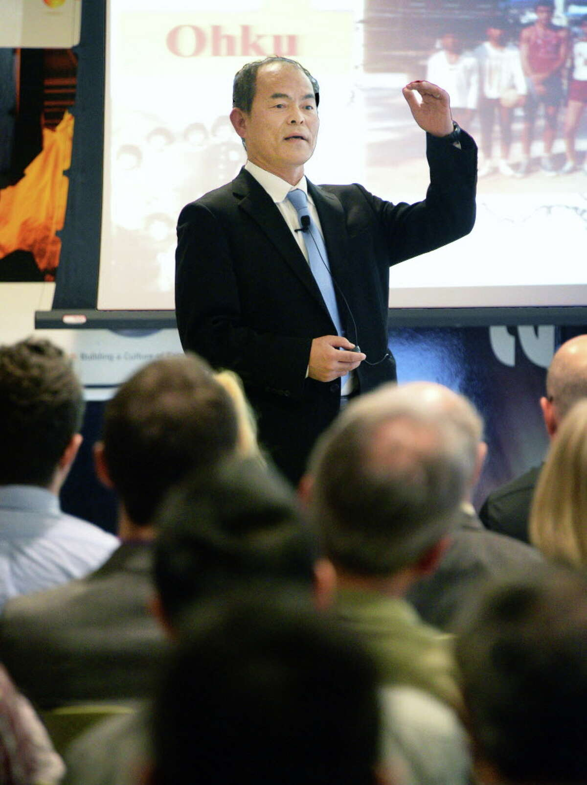 The father of blue LEDs and Nobel Laureate Dr. Shuji Nakamura speaks at Fab 8, GlobalFoundries' Distinguished Lecturers series Thursday April 14, 2016 in Malta, NY. Nakamura is a cofounder of LED maker Soraa, which is planning to operate a factory outside of Syracuse built by SUNY Polytechnic Institute. (John Carl D'Annibale / Times Union)
