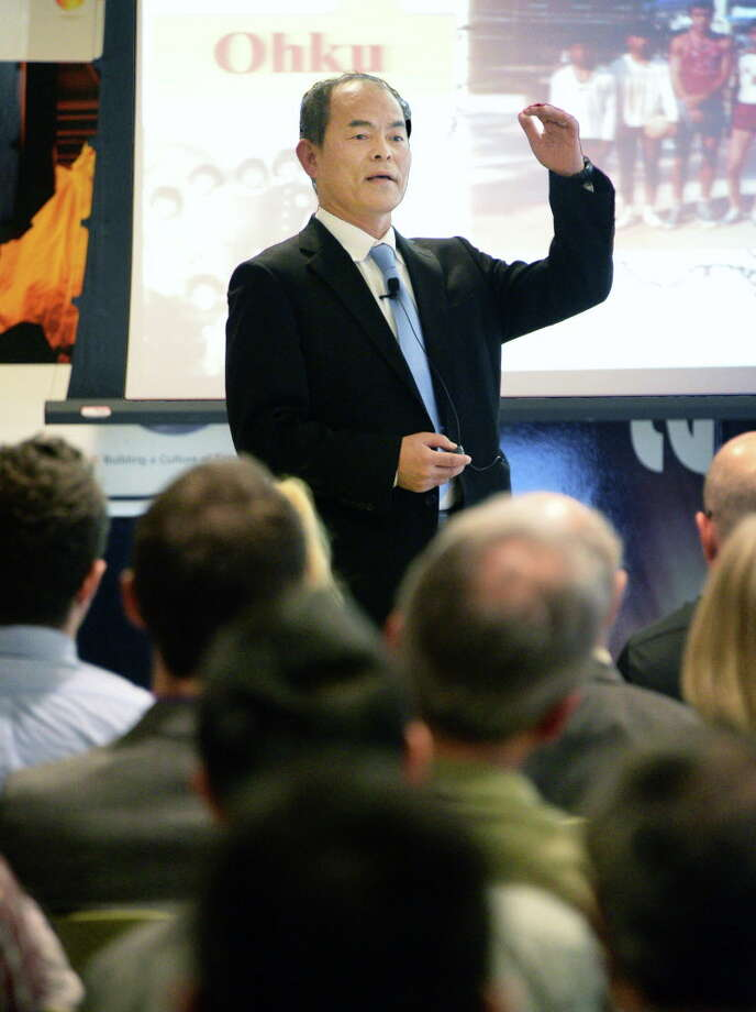 The father of blue LEDs and Nobel Laureate Dr. Shuji Nakamura speaks at Fab 8, GlobalFoundries' Distinguished Lecturers series Thursday April 14, 2016 in Malta, NY. Nakamura is a cofounder of LED maker Soraa, which is planning to operate a factory outside of Syracuse built by SUNY Polytechnic Institute. (John Carl D'Annibale / Times Union) Photo: John Carl D'Annibale / 10036195A