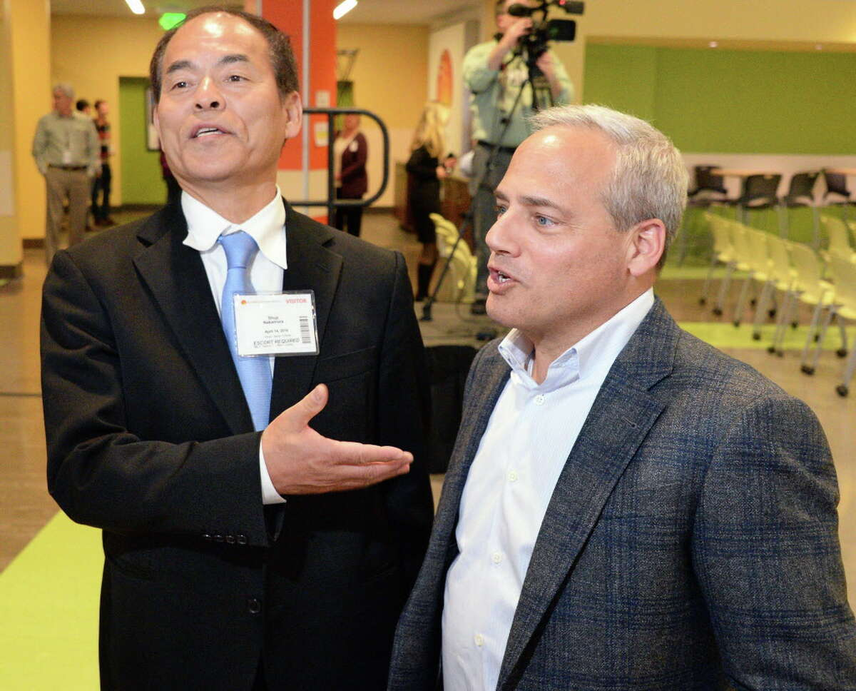 The father of blue LEDs and Nobel laureate Dr. Shuji Nakamura, left, and Fab 8, GlobalFoundries general manager Dr. Thomas Caulfield speak with reporters before Dr. Nakamura's presentation Thursday April 14, 2016 in Malta, NY. (John Carl D'Annibale / Times Union)