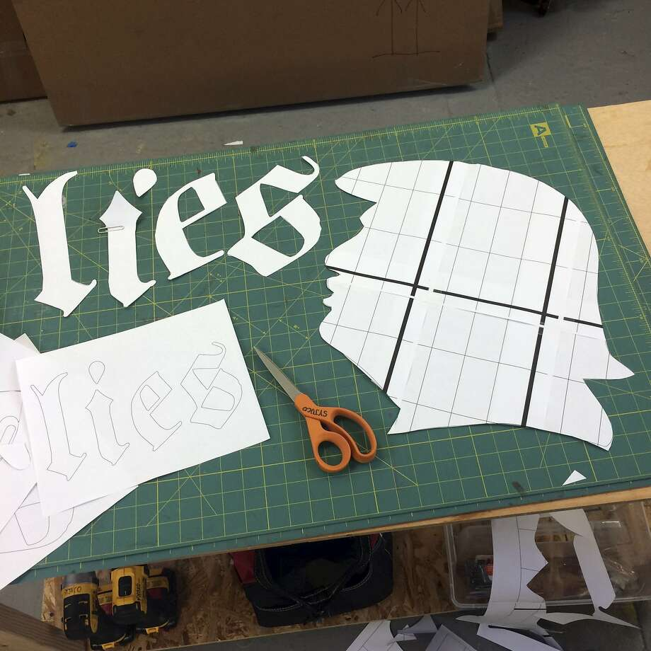 """""""Lies, Lies, Lies"""": Stephanie Syjuco, fabric banner, made in conjunction with 100 Days Action. Photo: Stephanie Syjuco"""