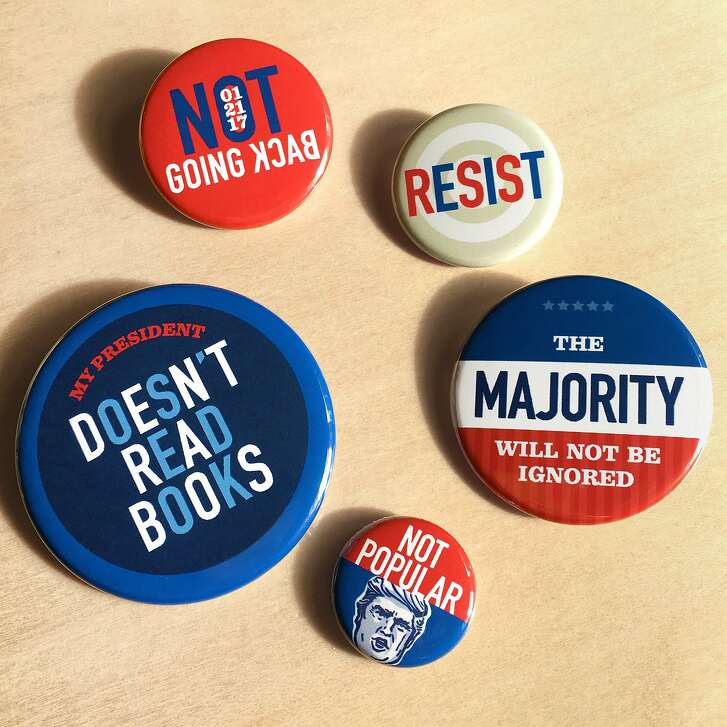 These button sets were designed by San Francisco creative director Kelly Niland and are $10 each via �https://trumpquotes.myshopify.com.